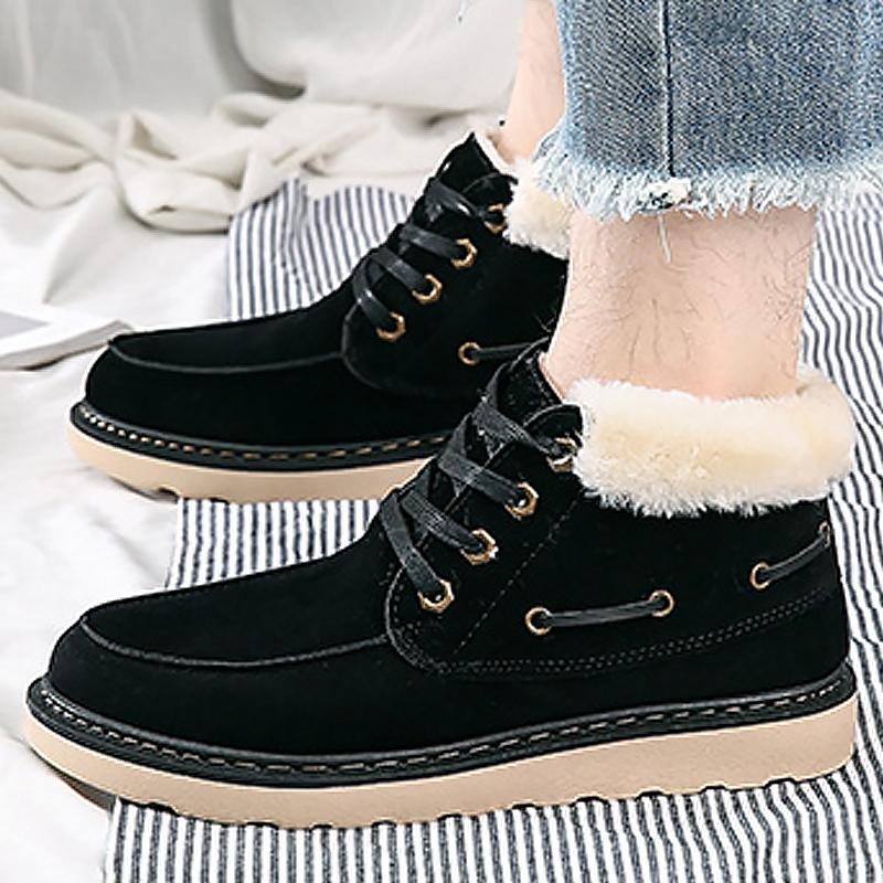 a5c616225457 Winter Boots Men Shoes Warm Fur Snow Boots Men Sewing Lace Up Fashion Ankle For  Non Slip Plush Male Shoes Red Shoes Footwear From Purpurpur