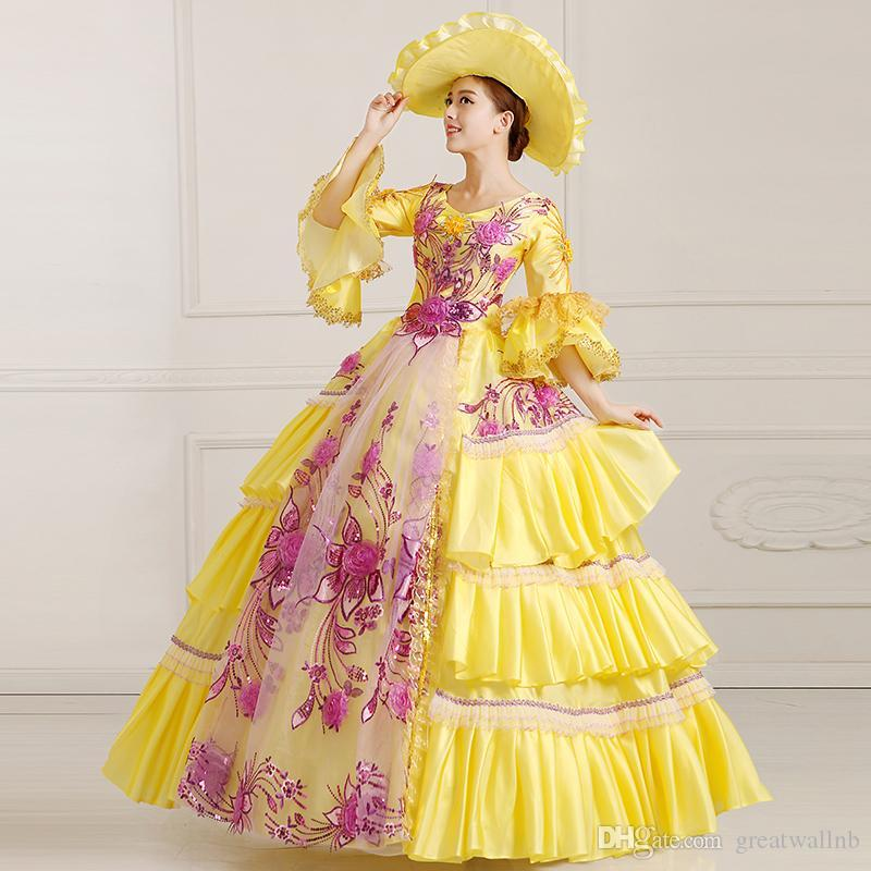 100real Yellow Flower Embroidery Beading Royal Court Ball Gown With