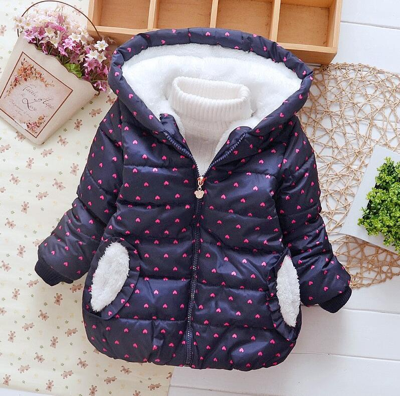 New Winter Baby Girls Jacket Bambini carattere coniglio cotone Mantenere caldo cappotto Bambini Lovely Style Long Hoodies Clothes