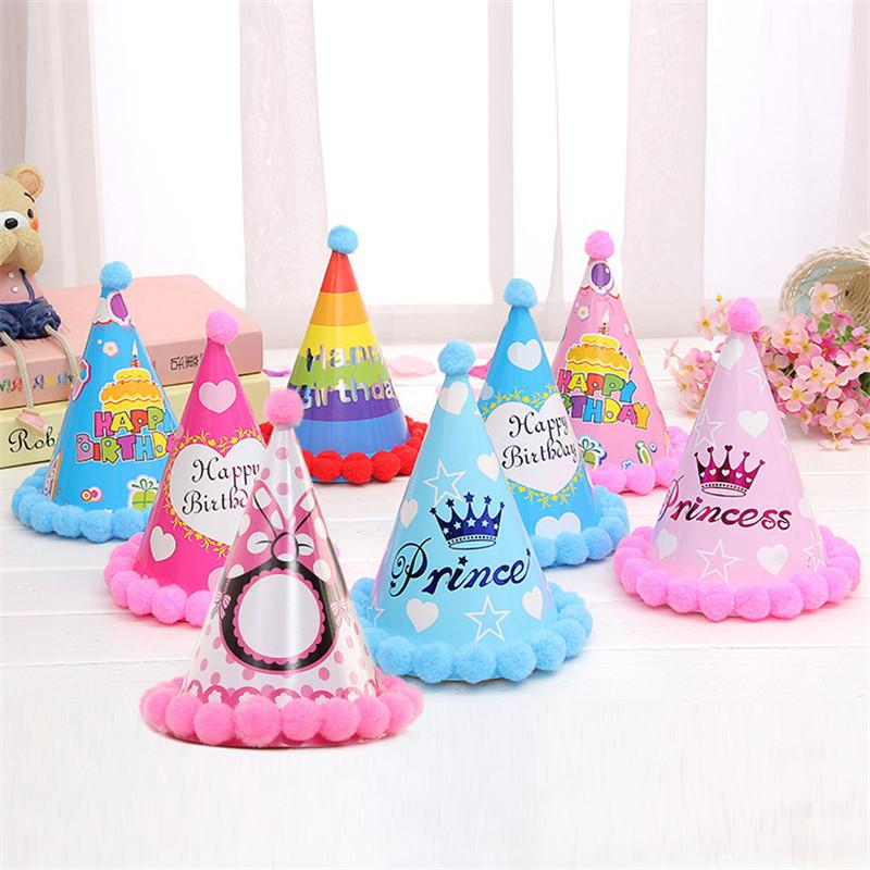 new arrival happy birthday party hats diy cute handmade dot stripe