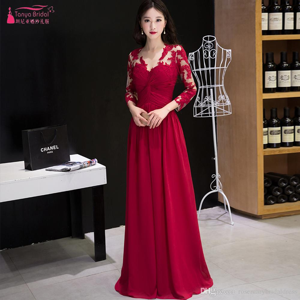 2e2b10373fbd7 Red Blue Burgundy Three Quarter Sleeve Evening Dresses V Neck Lace Prom  Gowns A Line Elegant Maid Of Honor Gowns ZE083 Two Piece Evening Dresses  Unique ...