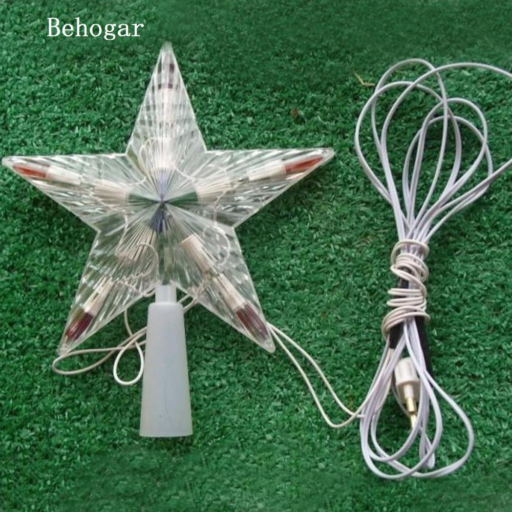 Behogar Flashing Led Color Changing Lamp Xmas Christmas Tree Topper ...