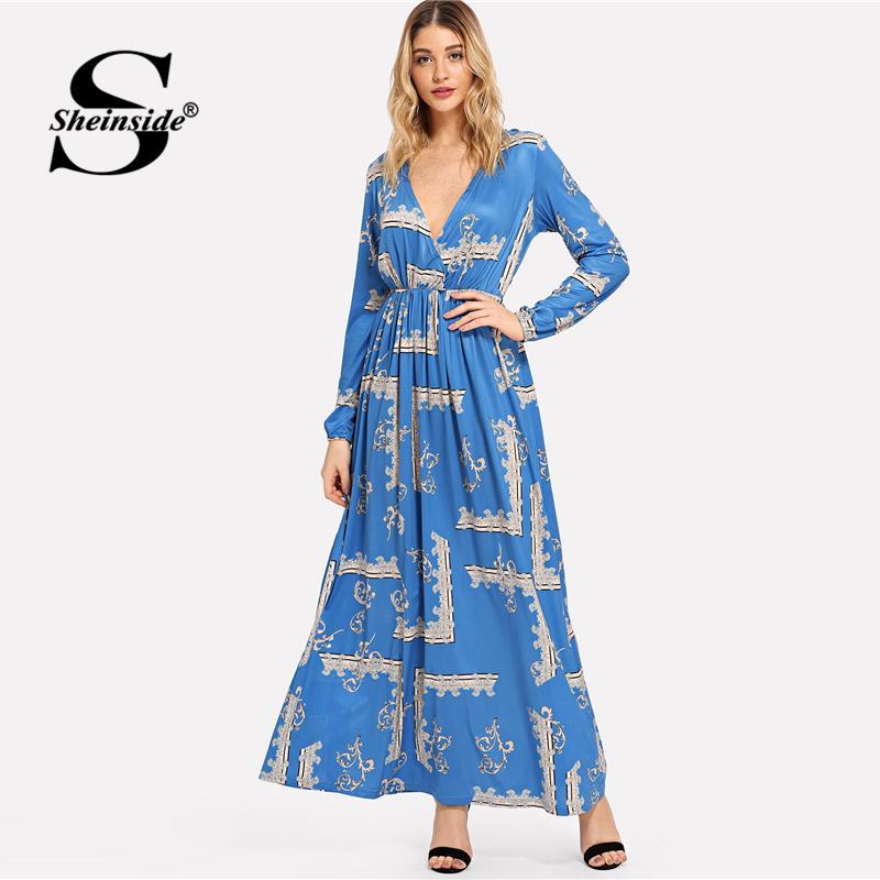 b8dbd6a4d7 2019 Sheinside Print Deep V Neck Maxi Blue Elegant Maxi Dress Office Ladies Long  Sleeve Vintage Women Autumn Shift Long Dresses From Honry, $24.75 | DHgate.