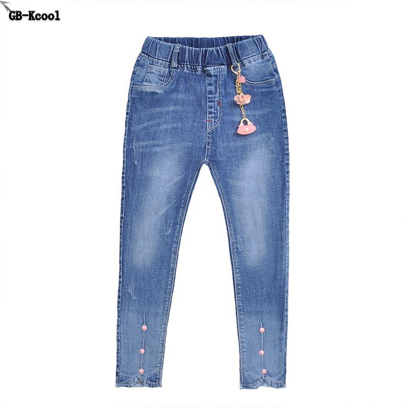 Skinny Jeans Estudiantes pantalones largos de GB-Kcool la alta calidad de las muchachas Pantalones vaqueros primavera equipo de los cabritos agujero Pantalones niños del otoño