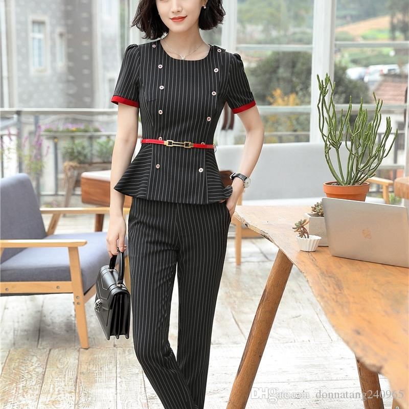 304f5ca4483c 2019 Pant Suits Summer Wear Short Sleeve Formal Uniform Style Office Women  Work Blazer Jacket With Trousers From Donnatang240965