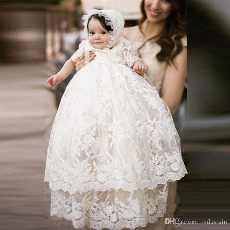96836b2b4 2019 Hot Sale Baby Long Ivory Christening Gown Lace New Birthday Baby Dress  Baby Girl Christening Gowns Baptism Dresses From Indusrain, $83.42 |  DHgate.Com