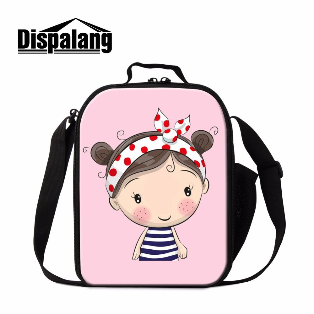 7372f7cf2ab4 Dispalang Pretty Insulated Lunch Bag for Kids Cartoon Shoulder Thermal  Lunch Box Cover Cute Girls Cooler Bag for School Meal