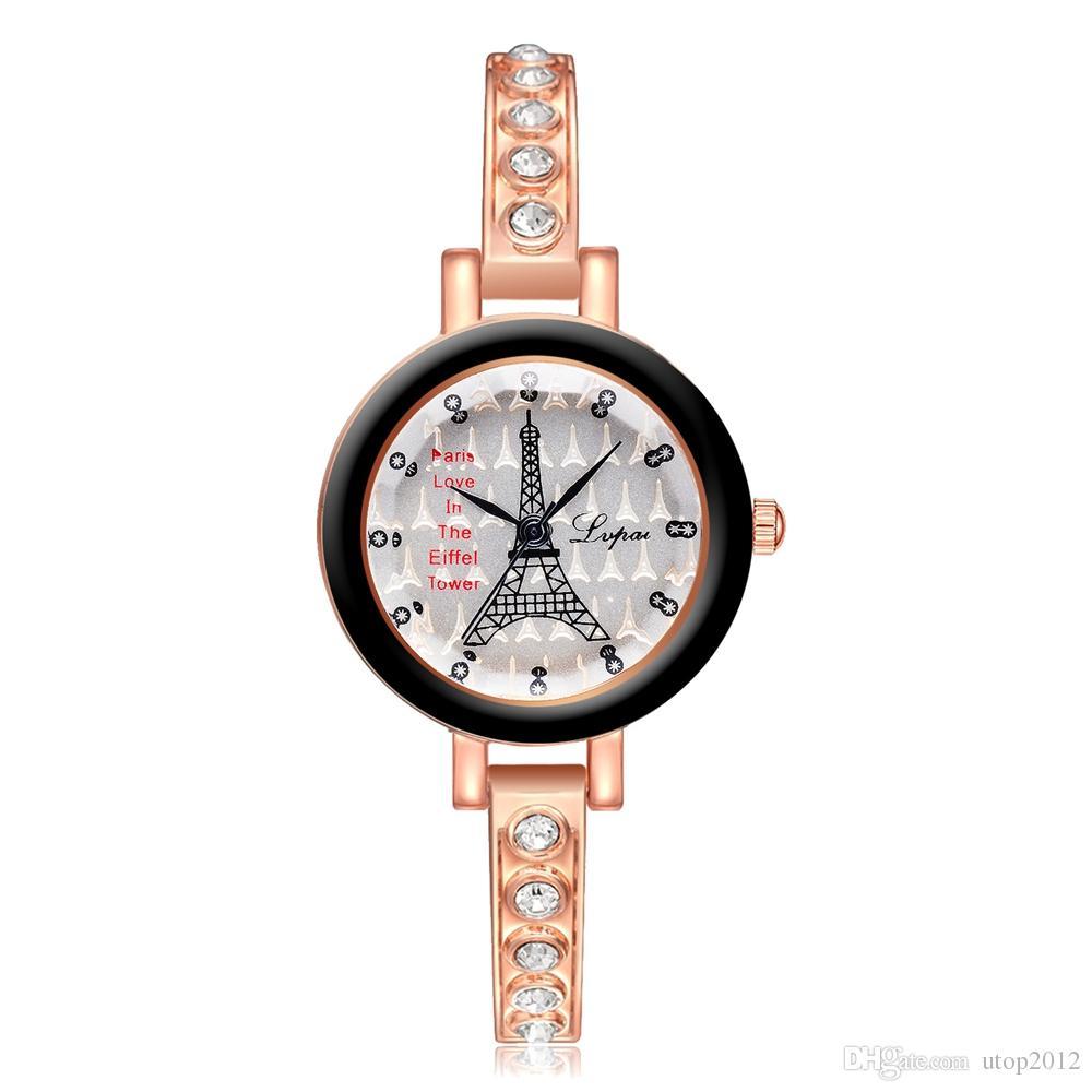 ece16a578718d DHL wholesale LVPAI Vogue Eiffel Tower Pattern Watch Women Luxury Stainless  Steel Small Dial Quartz Clock Wrist Watches Rhinestone Bracelet