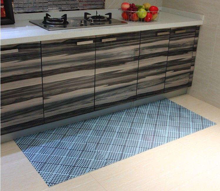 PVC verschleißfeste und rutschfeste Bodenkissen rechteckigen Bad Küche Schlafzimmer Hallen Teppich Kinder kriechende Matte anpassbar 65 * 100cm