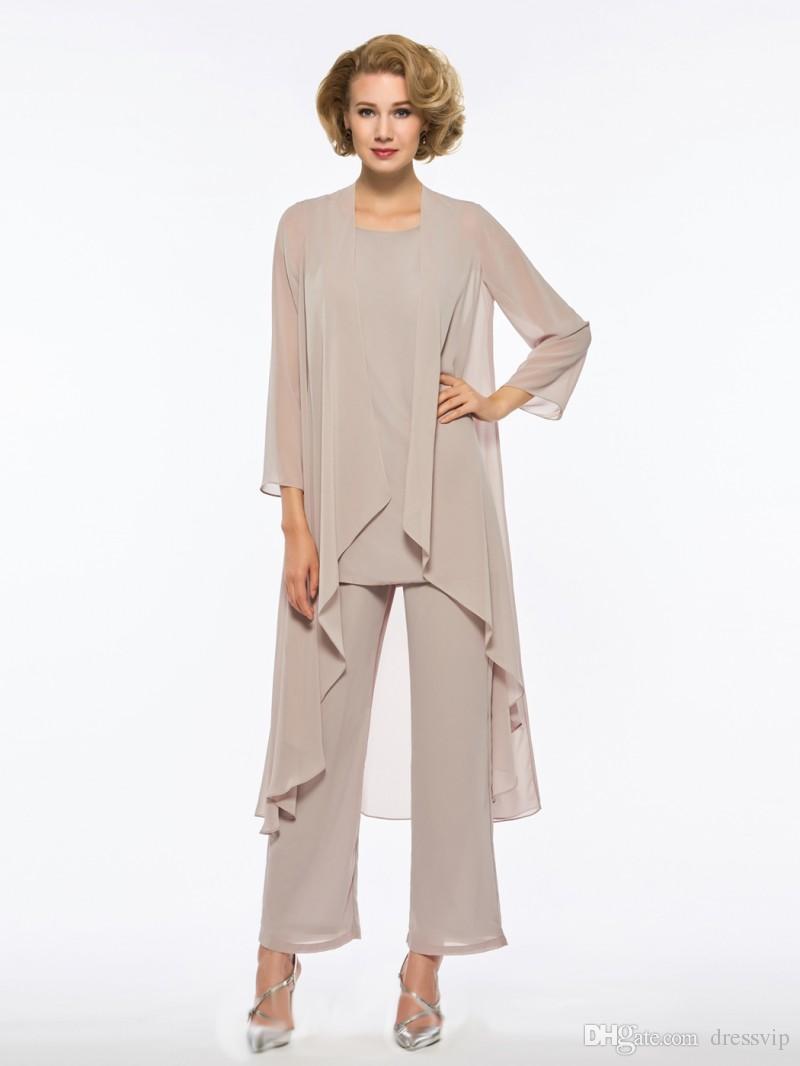 Plus Size Mãe Da Noiva Calça Terno 3 Peça Chiffon para Vestido De Casamento Da Praia Vestido de Mãe Mangas Compridas Barato Mães Vestido Formal