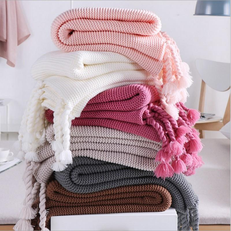 quality cotton Pom Crochet Thread Summer Blankets 130*170cm Babies Adults Kitted blanket for Beds Sofa Cover blanket car blanke