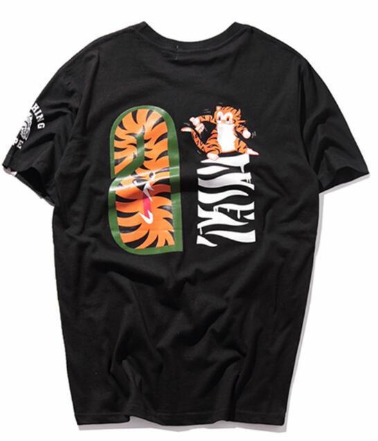 Европа и Соединенные Штаты high street tiger head хип-хоп рыбы с коротким рукавом футболки мужчин и женщин любителей тигр поддельные молнии с половиной рукавами t