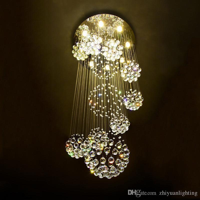 Modern Avize Yağmur Damlası Büyük Kristal Işık Fikstür ile 11 Kristal Küre Tavan Işık Fikstürü 13 GU10 gömme tavan Merdiven ışıkları
