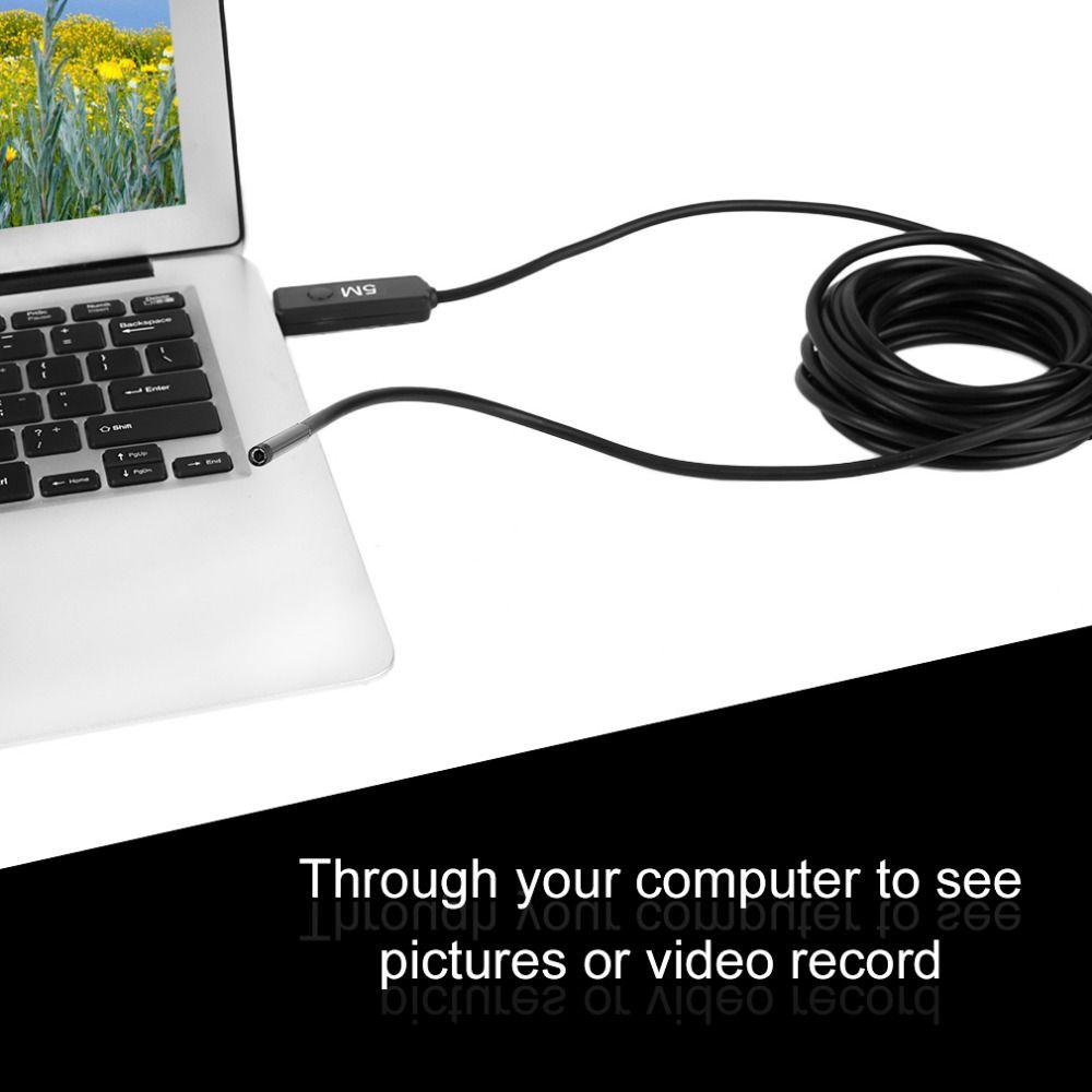 Freeshiping À Prova D 'Água HD 5 M 5.5mm Endoscópio Mini Câmera USB Boroscópio Foto de Captura de Inspeção Scope 6 LEDs Branco Tubo para Android Phone PC
