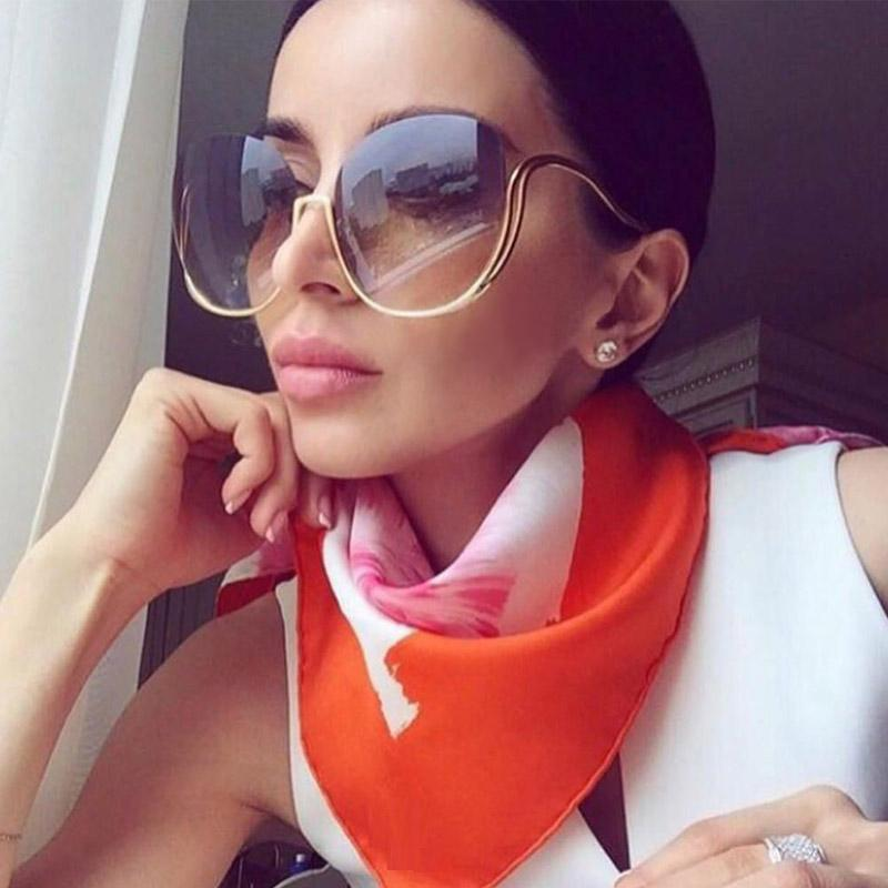 b2f6d3e790 2018 New Rimless Gradient Sunglasses Women Luxury Brand Designer ...