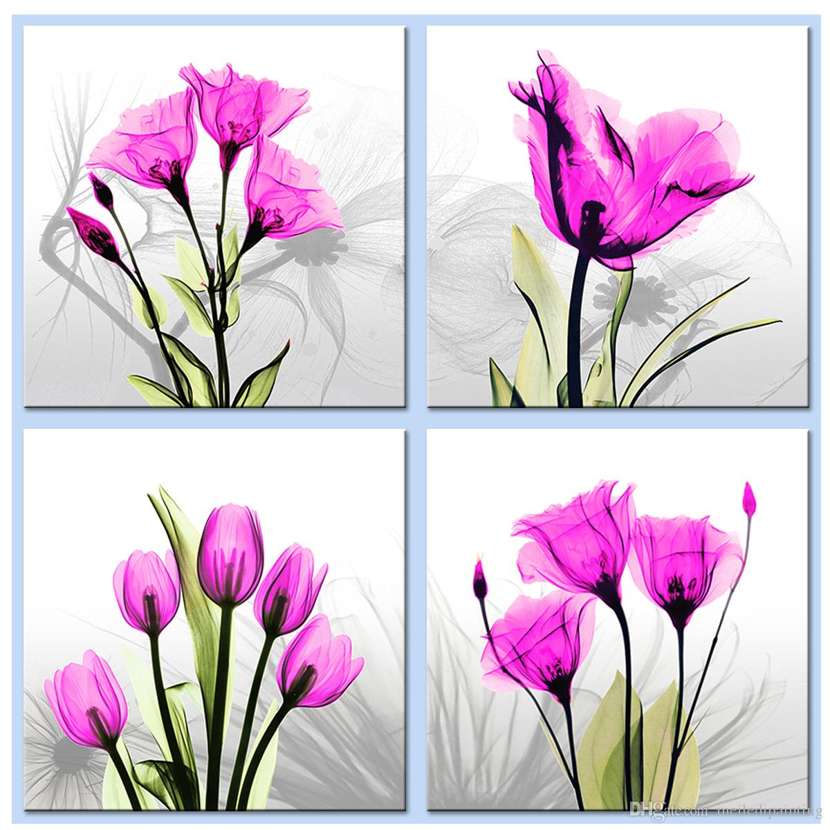 2018 4 Picture Wall Art Innovative Pink Tulip Flowers Picture Print
