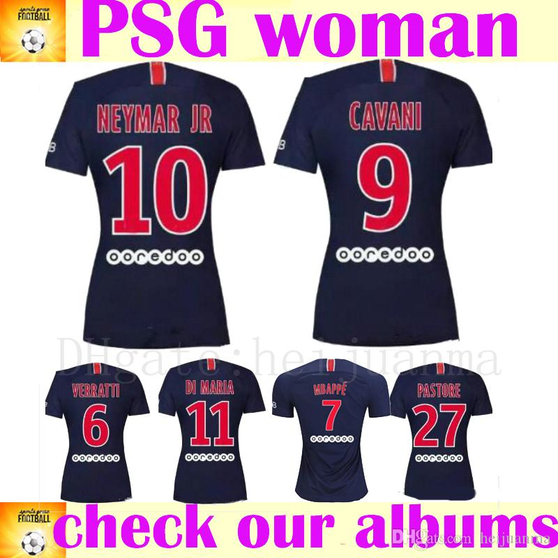 competitive price 4be38 6ec20 MBAPPE Women PSG Jersey 18 19 soccer jersey CAVANI DI MARIA SILVA VERRATTI  Ligue 1 Paris Saint Germain FC LadyFootball Shirt Kit Uniform