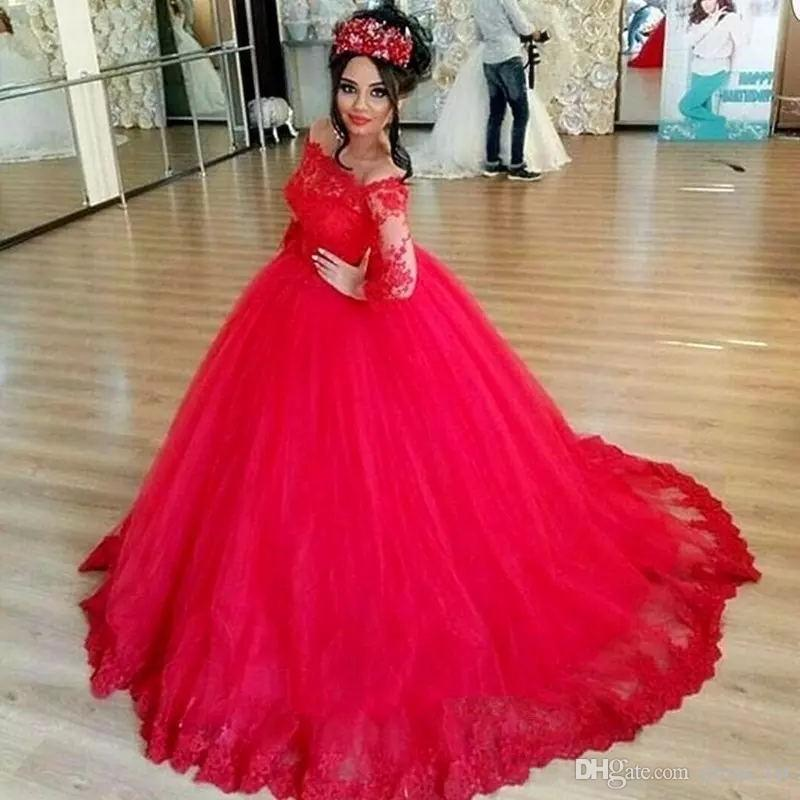 903548919 Marvelous Vestidos De Quinceanera Bateau Neck Long Sleeves Sweep Train Red  Lace And Tulle 2018 Prom Ball Gown Sweet 15 Dresses Dress Gowns Dresses  Under 100 ...