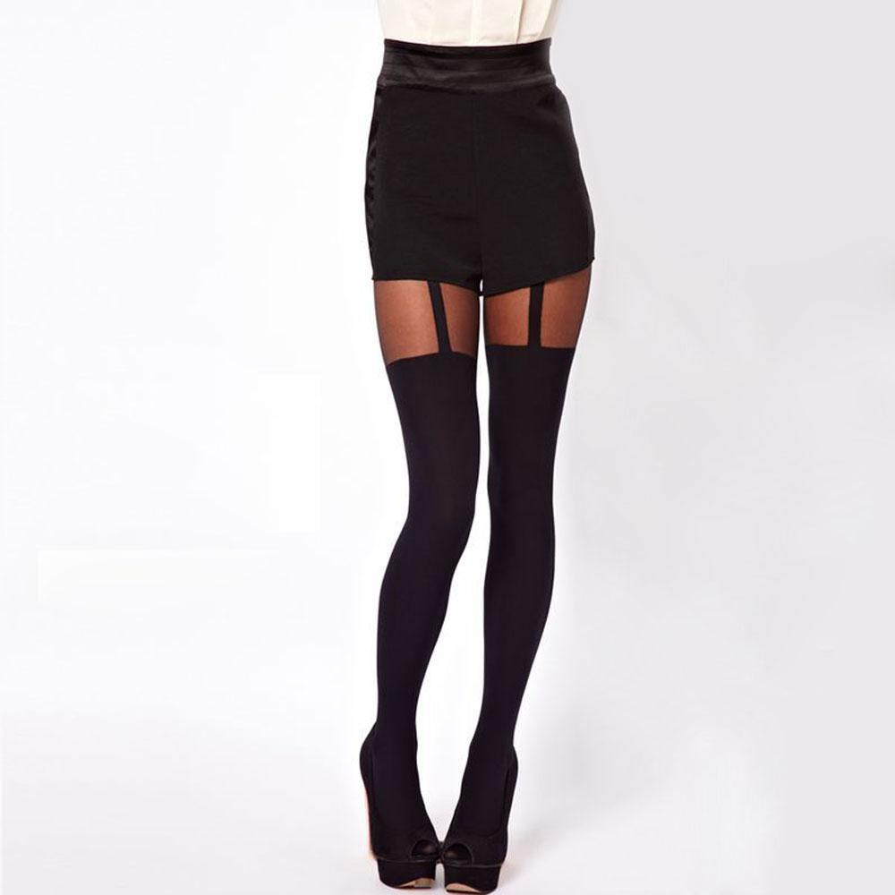 9a05229c130ef0 2019 2017 Hot Sexy Fashion Black Strap Silky Lady Thigh Highs Stockings  Garter Belt Fake Suspender Pantyhose From Zhusa, $34.89 | DHgate.Com