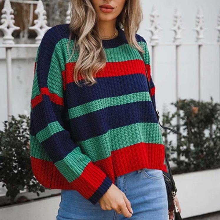 84c2993aa47dd2 2019 Korean Striped Women Oversized Sweater 2018 Autumn High Street Knitted  Pullovers Batwing Sleeve Knitwear Ladies O Neck Sweaters From Hermanw