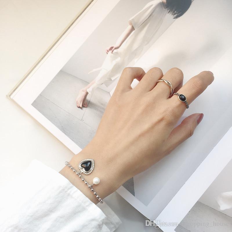 New Fashion Charming Women Silver Bracelet S925 Sterling Silver Black Onyx Heart Bracelet for Girls Women for Wedding Party