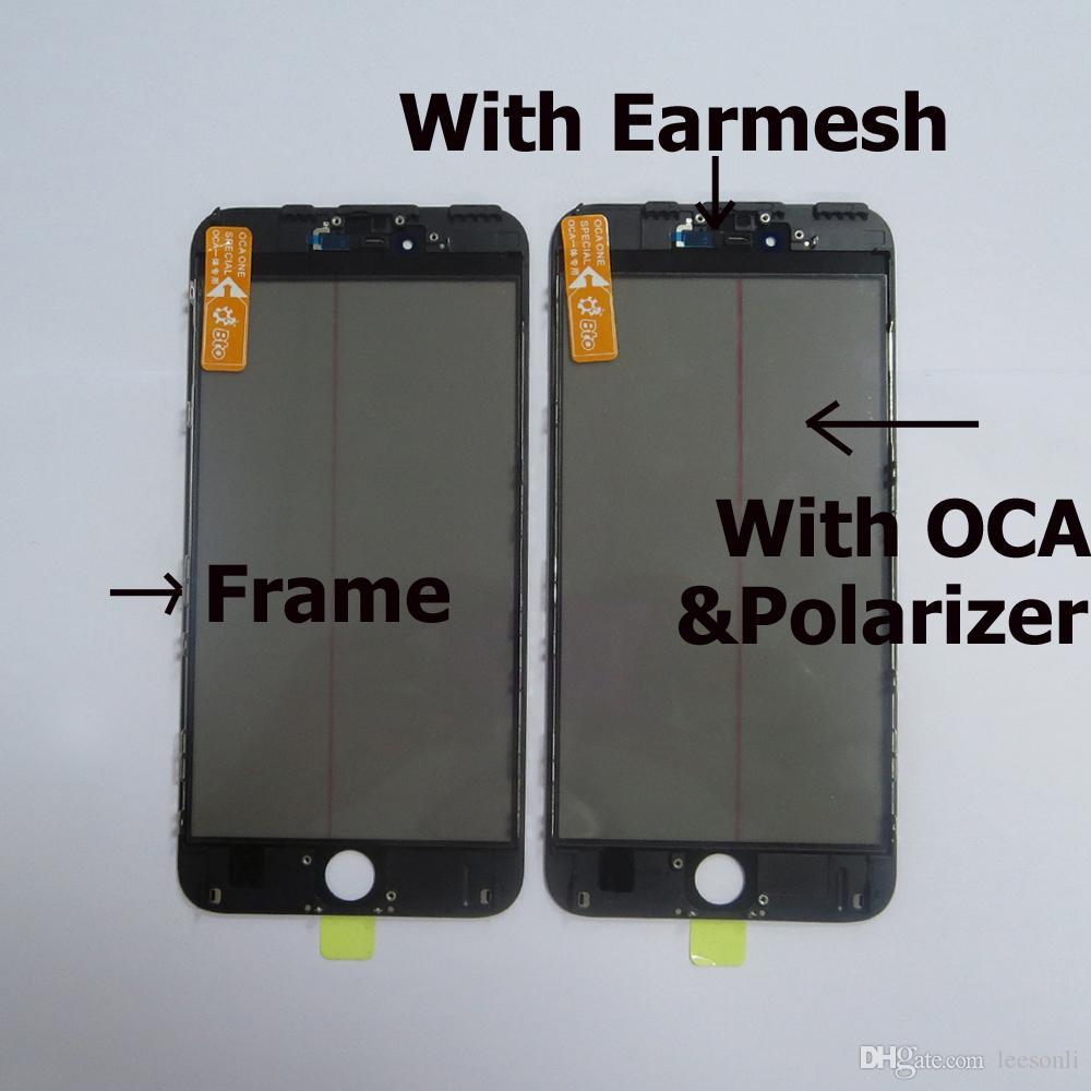 Lente de cristal con pantalla táctil LCD original con marco Poel OCA LCD Polarizer Film para iPhone 6 más