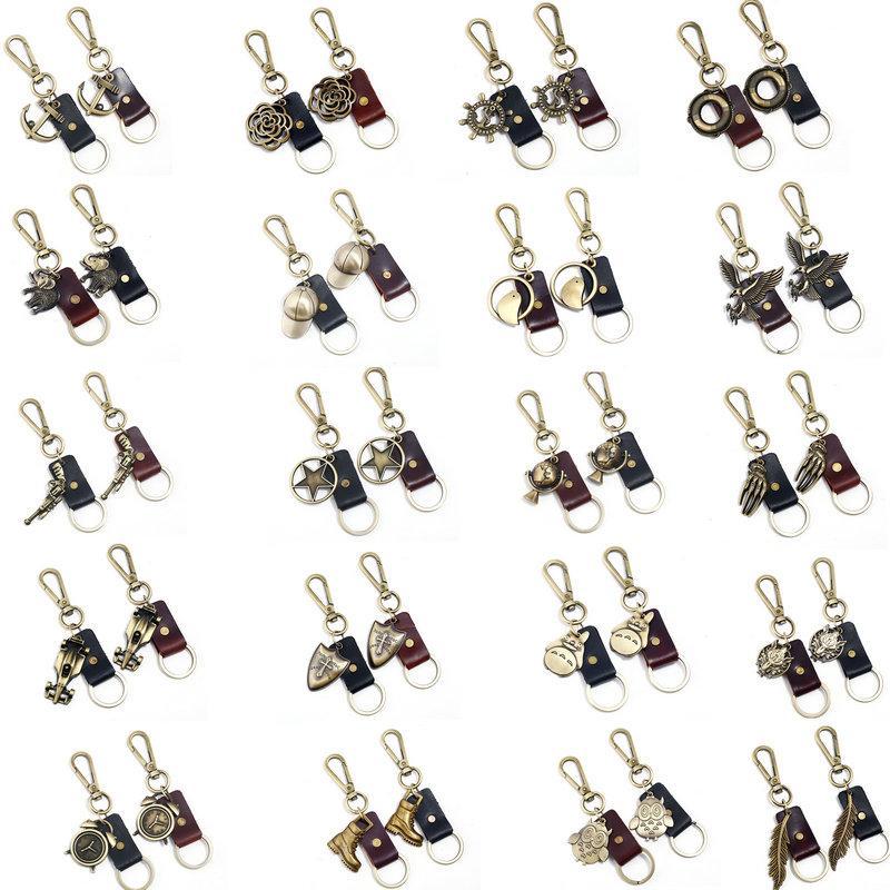 Feder personalisierte schlüsselanhänger für männer bronze legierung echtes leder auto schlüsselanhänger mit schnell abnehmbare schlüsselanhänger ringe