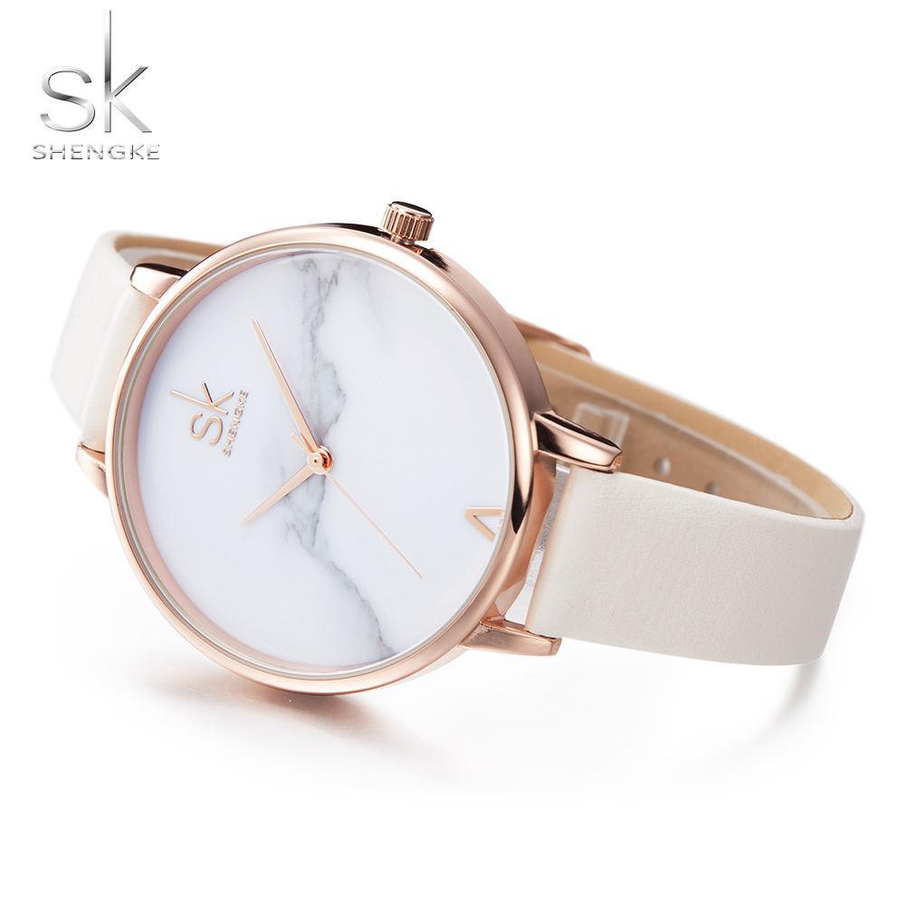 c2a2046bc2 Shengke Top Marke Mode Damen Uhren Elegante Weibliche Quarzuhr Frauen Dünne  Lederband Uhr Montre Femme Marmor Zifferblatt SK Y18102310