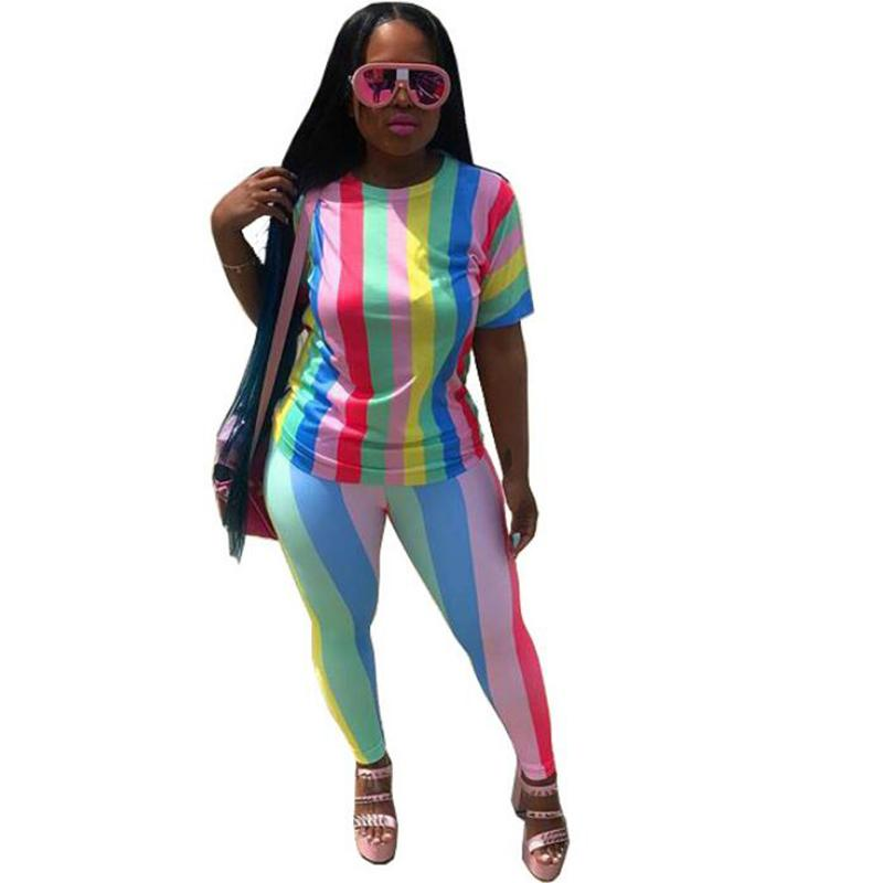 2b0f0ee60ebf5 Tracksuit Set Women Striped Two Piece Set Summer 2018 Sexy Tracksuit ...