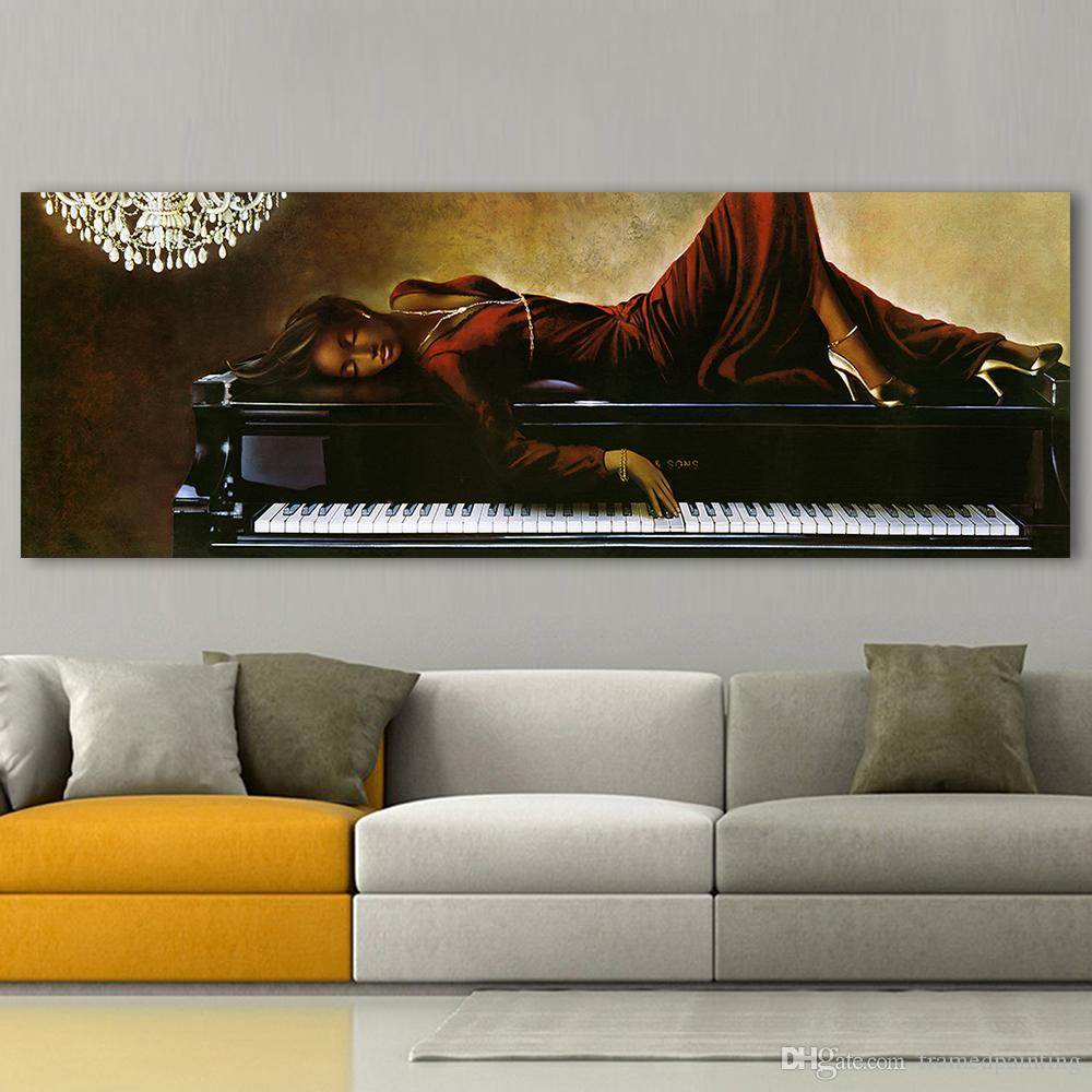 Wall Canvas Art Pictures For Living Room Black Pearl Lying On Piano Home Decor Figure Painting Frameless