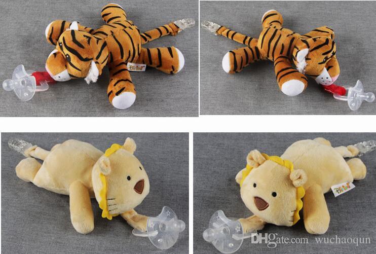 10 Estilo Nuevo chupete de silicona animal con peluche bebé jirafa elefante pezón niños recién nacido niño niños Productos incluyen chupetes