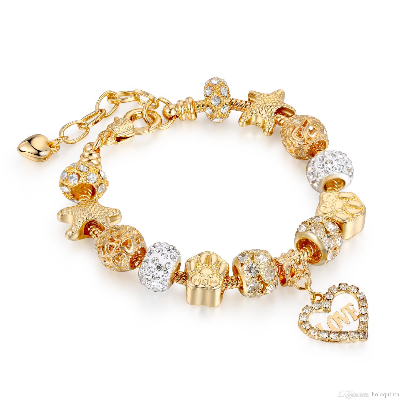 Regalo San Valentino charms in oro Amore di cristallo dei monili delle donne di moda Bracciali