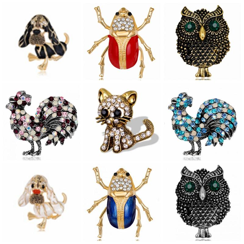 66c8f11033b 9 Style Natural Animals Brooch Pins Owl Dog Chicken Insect Cat Brooches For Women  Crystal Costume Jewelry Animal Brooch Brooches for Women Cat Brooch Online  ...