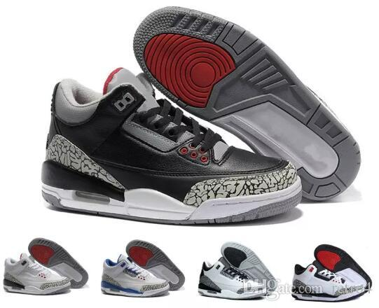buy popular 574a6 721d8 (with box )New arrival 3 3s Black Cement Basketball Shoes men Free Throw  Line True Blue Fire Red Katrina JTH Sneakers us 8-13