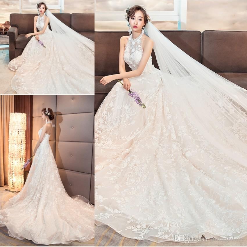 Discount For Sale Halter Beach Wedding Dresses Sleeveless Full Lace