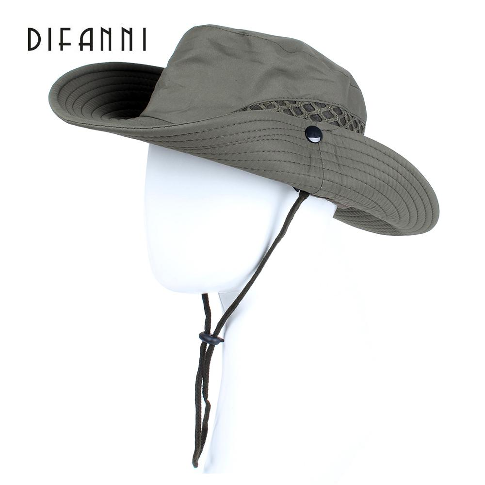 61ced0d210e48 2019 Difanni Summer Men Women Solid Color Bucket Hat With String Fisherman  Cap Military Panama Safari Boonie Hiking Hat Unisex Sunhat From Sport2017