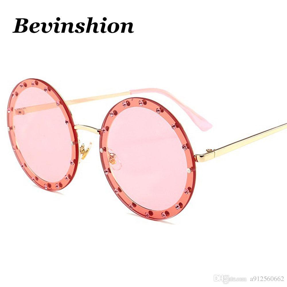 Luxury 2018 Round Sunglasses Women Diamond Mosaic Model Show ...