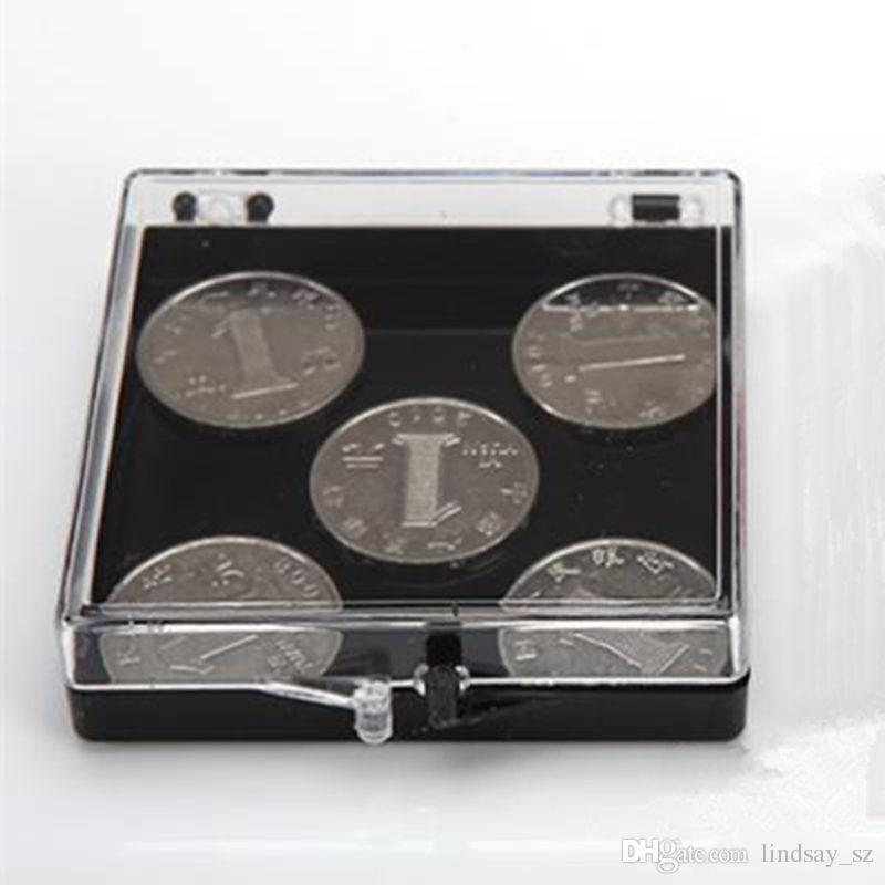 Caja de regalo plástica cuadrada transparente Caja plástica clara de la caja PS del embalaje de la moneda Organizador casero 7 * 7 * 1.9CM F20173504