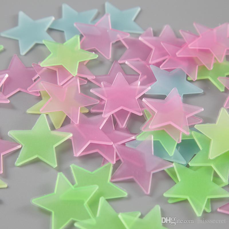 100 teile / satz 3D sterne im dunkeln leuchten Leuchtende Wandaufkleber für Kinderzimmer Wohnkultur Aufkleber Tapete Dekorative Spezielle Festivel