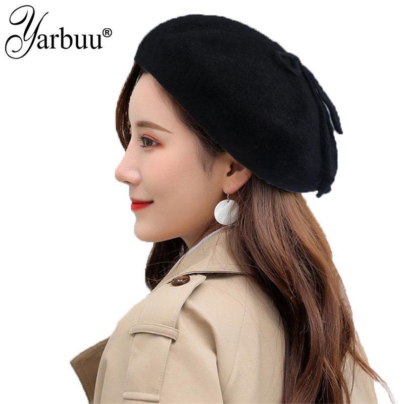 Compre yarbuu 2018 Novo Chapéu Da Marca De Alta Qualidade 100% Pure Wool Mulheres  Boina De Inverno Quente Feminino Estilo Britânico Lady Painter Bonnet ... 60c92bb98f7