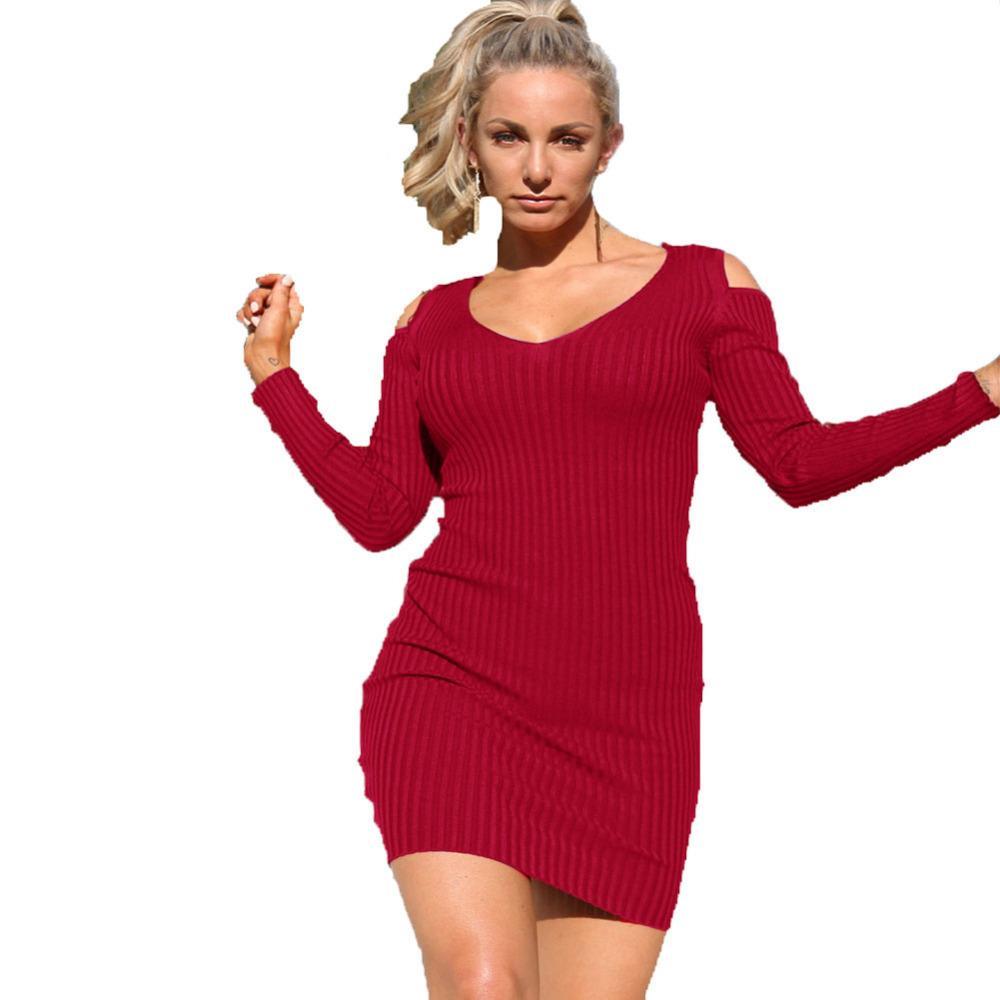 a0fc248034da 2018 New Fashion Women Cutout Shoulder V Neck Slim Sheath Dress Solid Long  Sleeve Casual Party Mini Dress Black Green Red Blue Backless Dress Dress  Shirt ...