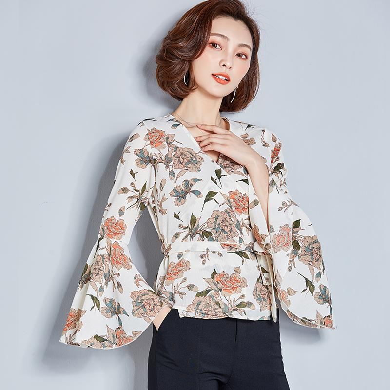 5a72045d169484 2019 2018 Spring And Summer Women New Floral Chiffon V Neck Cross Blouse  Printed Chiffon Shirt Horn Sleeve Female Plus Size Tops From Yujian18, ...