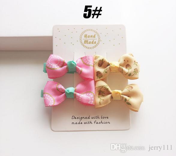 INS flower bow Hair Clips baby beautiful barrettes cute hair accessories infant dot polka leopard bandanas headband Hair Clips LC691