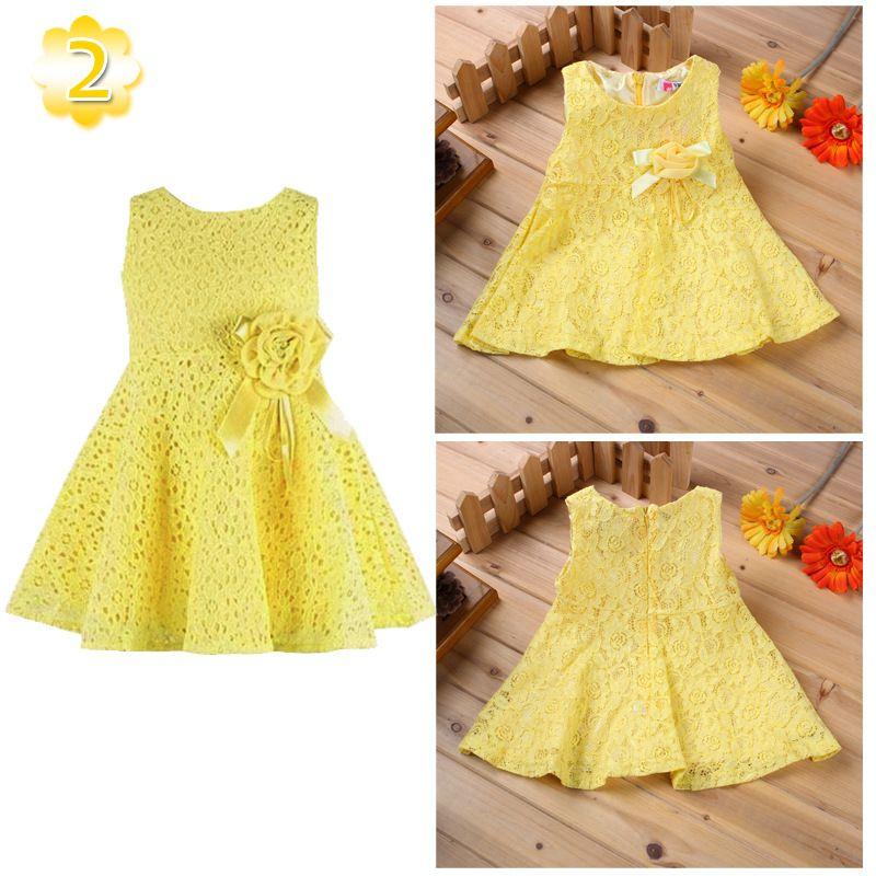 Fashion kids baby girls princess sleeveless lace dress kids flowers hole dress summer spring crochet skirt dresses