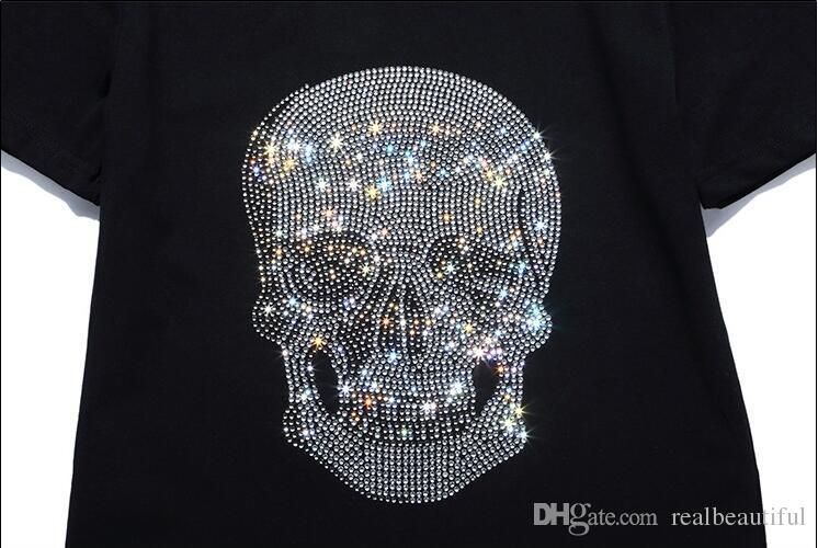 뉴 여름 조류 브랜드 코 튼 짧은 맞춤 슬림 캐주얼 망 Tee 인쇄 두개골 라인 석 desinger MENS T- 셔츠 코 튼 품질 P18297-99