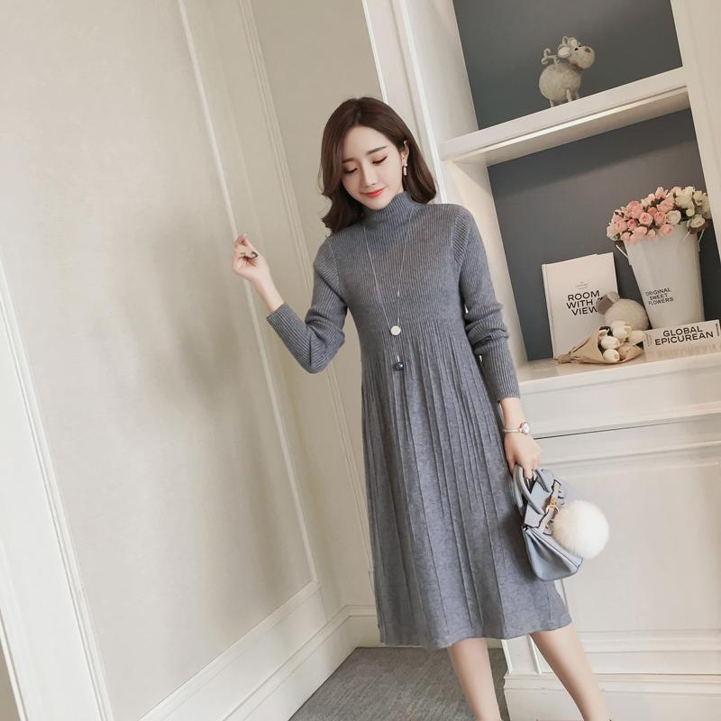 03a06f9c3 Compre Otoño Invierno Moda Coreana Suéteres De Maternidad Vestido Largo  Espesar Ropa De Punto Para Mujeres Embarazadas Vestido De Embarazo A  28.75  Del ...