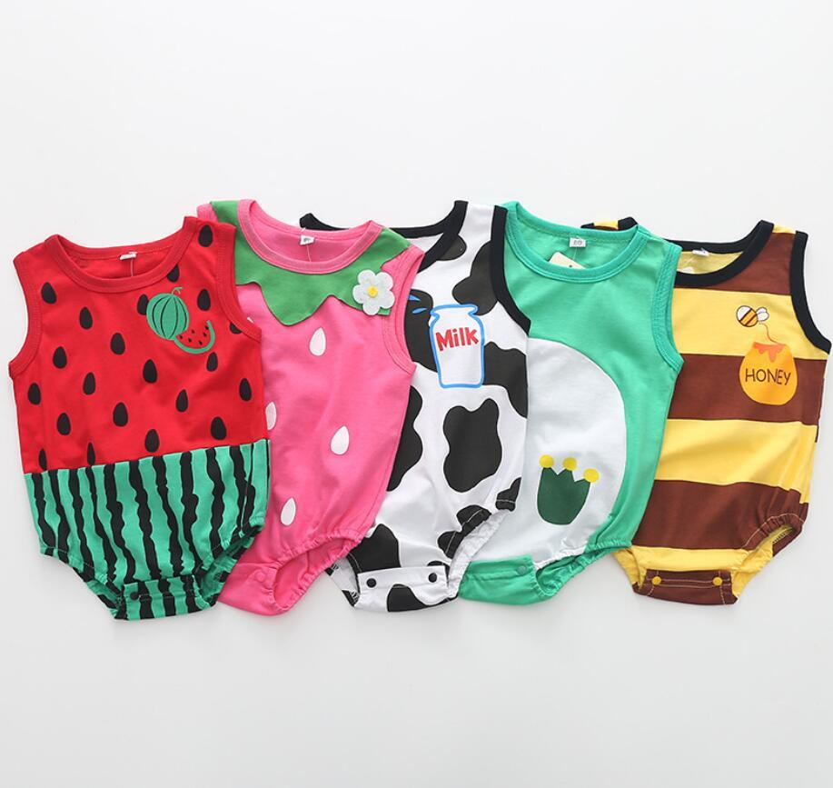 01df895cf28 2019 Newborn Baby Cotton Rompers Unisex Baby Girl Boy Clothes Fruit  Strawberry Watermelon Summer Roupas Jumpsuits Overalls From Namenew
