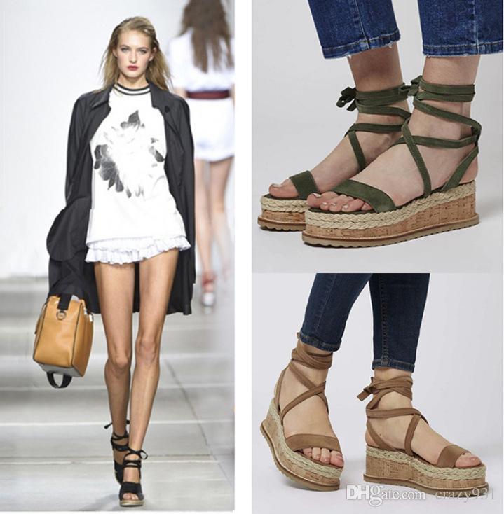 Wholesale Summer White Wedge Espadrilles Women Sandals Open Toe Gladiator  Sandals Women Casual Lace Up Women Platform Sandals Black Wedges Platform  Shoes ... ea6fc29455d9