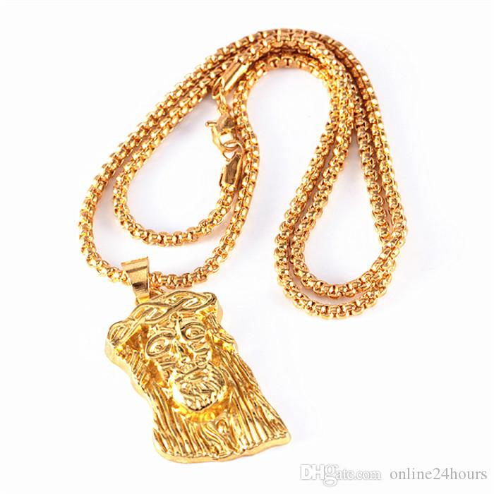Wholesale Hot Gold Color Filled Pleated Jesus Piece Pendant Necklace ...