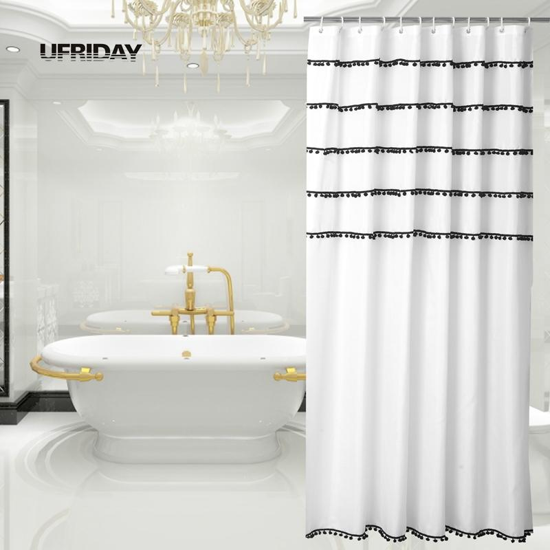 2018 Ufriday Tassels Shower Curtain Black And White Decorative ...